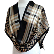 LORD & TAYLOR 100% Silk Scarf. Very Long Rectangle.  Black, Tan & Cream Geometrics and Florals.  Quality +.  As New Condition.