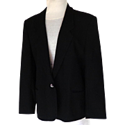 LONDON FOG Classic Black Jacket / Blazer. Princess Lines.  One Button.  Lined.  As New Condition.
