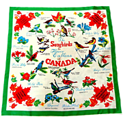 Songbirds & Flower Emblems of Canada Souvenir Scarf. As New Unused Condition.