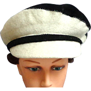 100% Felted Wool Poor Boy/News Boy Hat.  Asymmetrical Black and White.  Super Stylish.    As New Condition.