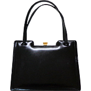 B.ALTMAN, Made in England,  Black Polished Calf Genuine Leather, Kelly Style Purse. Mint Condition.