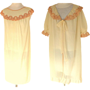 French Negligee / Peignoir / Nightgown Set.  Ecru & Cream. Mid 1960's.  As New Condition.