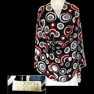 Pashmina / Shawl / Wrap.  70% Pashmina & 30% Silk. Striking Circles on Black.  As New Condition.