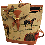 Purse / Backpack / Tote.  Horses Motifs. Patterned Canvas with Faux Leather Trim. As New Condition.