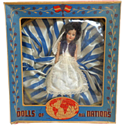 Dolls of All Nations.  Greek Doll. 1950.   In Original Box.  Unplayed Condition.