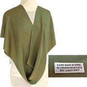 Hand Made in Nepal. 70% Pashmina & 30% Silk. Olive Green Long Scarf.
