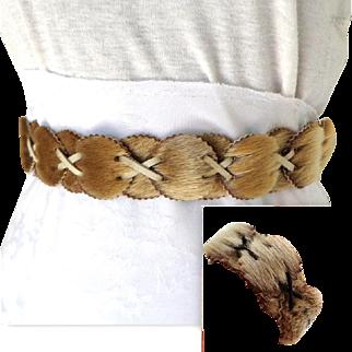 1960's Signed Sealskin Belt & Cuff Bracelet.  Inuit Crafted.