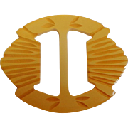 Carved Bakelite Belt Buckle / Scarf Slide. Golden Yellow.  Mint Condition.