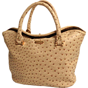 PINKSTIX Faux Ostrich Bucket, Convertible, Purse / Handbag.  Tan Color. As New Condition.