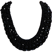 Glittering Woven Bead Necklace.  Black.   Striking.  Mint Condition.