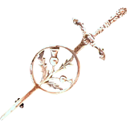 Sterling Scottish Kilt Pin.  Fully Hallmarked.  Sword Shaped with Thistle Roundel.  As New Condition.