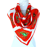French 100% Silk Scarf.  Yvonne, Made in Anvers, France.  Horse and Carriage Motif.  Red & White. Quality. As New Condition.