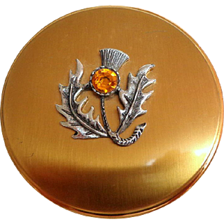 Scottish Thistle Powder Compact.  Round. Gold Toned Metal. Mint Condition.