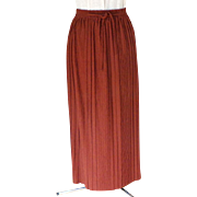 Full Length Hostess / Evening Skirt.  Terracotta.  Decorative Polyester Knit.  As New Condition.