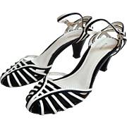 Fioni Black & White Strappy Shoes.  Ankle straps.  Super Cute.  As New Condition.