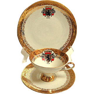 Berlin Crest. Cup and Saucer and Dessert Plate.  Heavily Gilded.  Bavarian.  Perfect Condition.