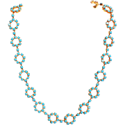 Turquoise Rosette Necklace.  Totally Beautiful.  Mint Condition.