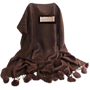 Rich Chocolate Brown Pashmina with Genuine Fur Pompoms.  70% Pashmina and 30% Silk.   Super Luxurious. New Condition.