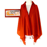 100% Cashmere Mongolian Pashmina.  Terracotta Color.  Quality.  As New Condition.