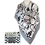 TRISTAN 100% Silk Scarf.  Black and White.  Gorgeous Quality.  As New Condition.