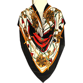 Super Gorgeous 100% Silk Scarf.  Beautiful Graphics.  Mint Condition.