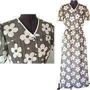 1970's  Evening Gown / Hostess Gown.  Light Poly Cotton.  Grey and White Florals.  Super Attractive.  As New Condition.