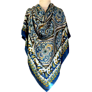 "H&M Sweden,  Huge Scarf.  60"" by 60"".  Made in Italy.  Blue Paisley Graphics.  Striking.  Unusual.  As New Condition."