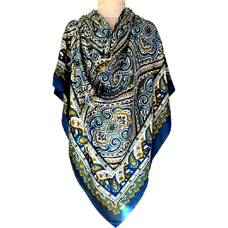 """H&M Sweden,  Huge Scarf.  60"""" by 60"""".  Made in Italy.  Blue Paisley Graphics.  Striking.  Unusual.  As New Condition."""