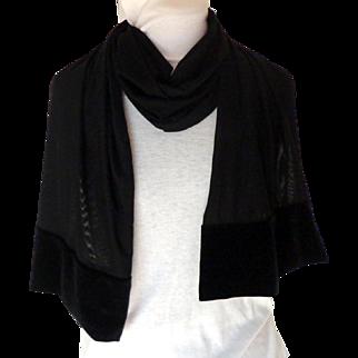 Black Stretch Velvet & Black Stretch Illusion Net Scarf / Wrap. Elegant Evening Quality.  As New Condition.