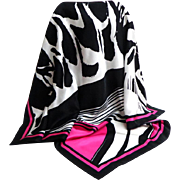 LUCIA 100% Silk Scarf.  Totally Striking. Elegant.  Black / White / Fuchsia.  As New Condition.