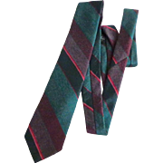 Men's Tie.  Christian Dior Monsieur . Teal Blue and Wine.  Elegant.   Mint Condition.