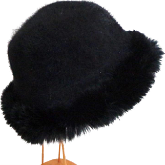 BEATRICE & ZACHARIE Luxurious Genuine Fur Trimmed, Angora Felted, Brimmed Hat.  Black.  As New Condition.