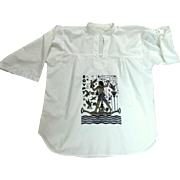 Egyptian Cotton Cairo Souvenir Blouse / Tunic.  1970's.  White.  Near Fine Condition.