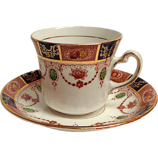 Colclough China Pattern 6699 Cup & Saucer.  Cobalt and Terracotta Garlands.  Perfect Condition.