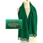 The Scotch House 100% Cashmere Deep Kelly Green Scotland Scarf.  Perfect Condition.