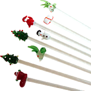 8 Christmas / Holiday Themed Glass Swizzle Sticks.  Vintage.  Mint Condition.