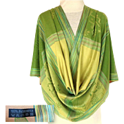 Pashmina.  Shades of Green and Pale terracotta.  Stripes & Color Blocks.  Mint Condition.