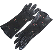 Black Kid Gloves with Embroidered Flower Sprays on the Backs.  Mint Condition.