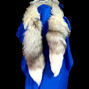 "Canadian Genuine Silver Fox Fur Boa / Scarf / Collar.  57"" Long. Thick. Rich. Super Gorgeous."