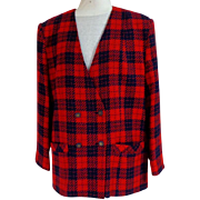 White Stag Jacket.  Navy and Red Plaid.  Double Breasted V Front.  Size 18.  Fine Condition.