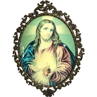 """Italian. Large, Convex Glass, Metal Framed Picture of Sacred Heart.    16"""" Tall.  Beautiful."""
