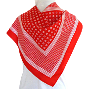 Daniel la Foret, Paris, 100% Silk Scarf. Red and White.  Quality.