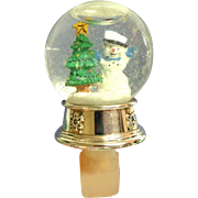 Combination Miniature Christmas Snow Globe and Bottle Stopper.  Silver Collar.  Mint Condition.
