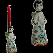 German Angel Candleholder.  Ceramic.  1970's.  Charming Folk Art.  Mint Condition.