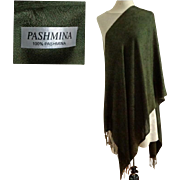 Luxurious Olive Green Pashmina.  Woven Paisley Designs.  As New Condition.