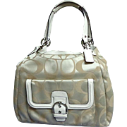 COACH Purse / Satchel. Signature Jacquard. White, Khaki & Silver/Grey.  Mint Condition.
