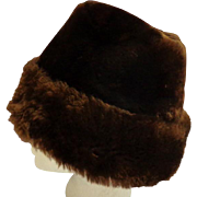 Chocolate Brown Shearling Sheepskin Hat.  Gorgeous.  Super Warm.  Mint Condition.
