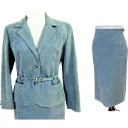 Ultra-suede suit.  Icy Blue Gray.  Size L.  Top Quality Construction and Styling.  Totally Elegant.  As New Condition.