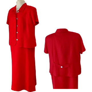 JESSICA HOWARD Woman. 2 Piece Suit. Full Length Dress and Short Sleeve Jacket. Red. Linen and Rayon.  Size 18.  Mint Condition.