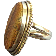 Sterling Silver and Jasper Ring.  Large.  Gorgeous.